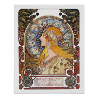 ミュシャのアールヌーボーポスター- (占星術の)十二宮図- Laの羽毛 ポスター