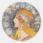 ミュシャのアールヌーボーポスター- (占星術の)十二宮図- Laの羽毛 ラウンドシール