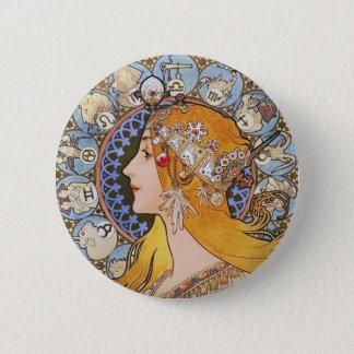 ミュシャのアールヌーボーポスター- (占星術の)十二宮図- Laの羽毛 缶バッジ