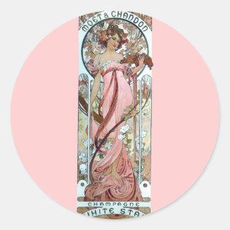 ミュシャのアール・デコの白人の星のシャンペンの女性 丸形シール・ステッカー