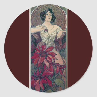 ミュシャのアール・デコの赤によっては女性の女性女性が開花します ラウンドシール