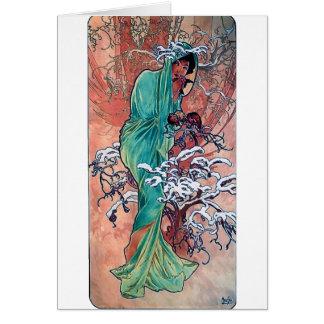 ミュシャの冬のアールヌーボーの女性すずめの鳥 カード