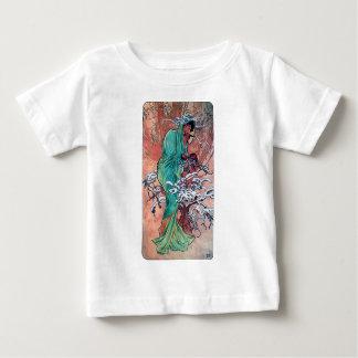 ミュシャの冬のアールヌーボーの女性すずめの鳥 ベビーTシャツ