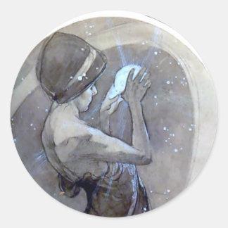 ミュシャの北極星のアールヌーボーのdecoの女性 丸形シール・ステッカー