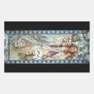 ミュシャの女性のアール・デコの花の春の花 長方形シールステッカー