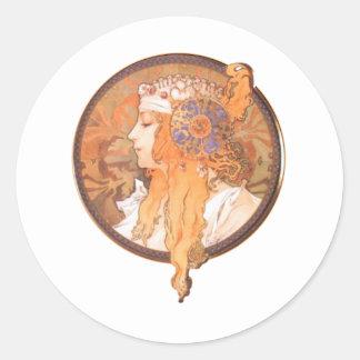 ミュシャの女性の頭部のmedalionのポートレートのカメオ 丸形シール・ステッカー