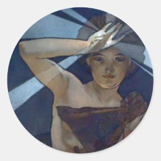 ミュシャの明けの明星のアールヌーボーポスター女性 丸形シールステッカー
