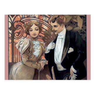 ミュシャの浮気者の女性の人のロマンチックな愛 ポストカード
