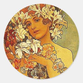 ミュシャの花 丸形シールステッカー