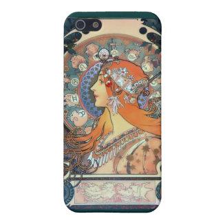 ミュシャの(占星術の)十二宮図の女性のアール・デコのヴィンテージの芸術の女性 iPhone SE/5/5sケース