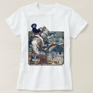 ミュシャのLuchonの古いヨーロッパ都市アールヌーボー Tシャツ