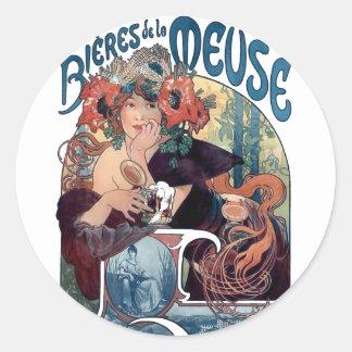 ミュシャビールBieres deのlaのムーズのヴィンテージの広告 ラウンドシール