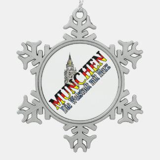 ミュンヘンのババリアドイツ雪片のオーナメント スノーフレークピューターオーナメント