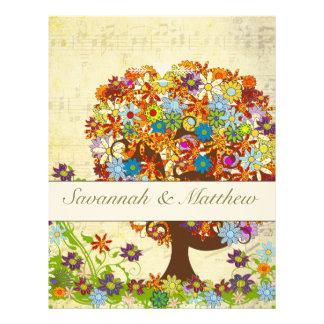 ミュージカルによって魅了される森林花の木の結婚式 レターヘッド