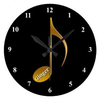 ミュージシャンのための名前入りな一流の金ゴールド音楽ノート  ラージ壁時計