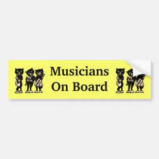ミュージシャンの船上にヴィンテージの黒猫 バンパーステッカー