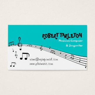 ミュージシャン音楽五芒星のターコイズ、白い黒 名刺
