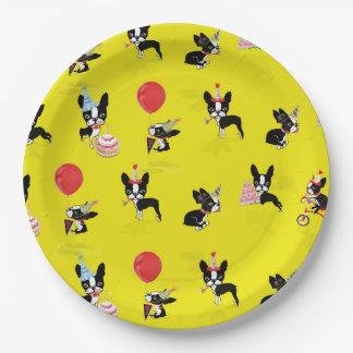 ミラベルボストンテリアの誕生日の紙皿 ペーパープレート