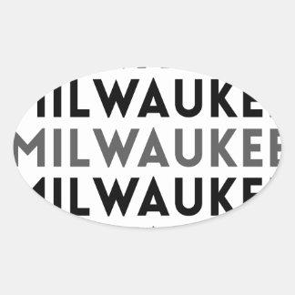 ミルウォーキーのタイルのデザイン 楕円形シール