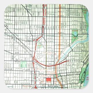 ミルウォーキーのヴィンテージの地図 スクエアシール