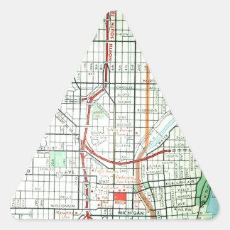 ミルウォーキーのヴィンテージの地図 三角形シール