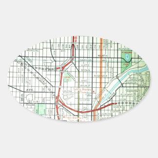 ミルウォーキーのヴィンテージの地図 楕円形シール