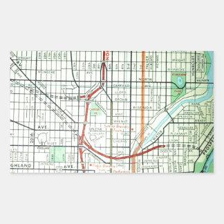 ミルウォーキーのヴィンテージの地図 長方形シール