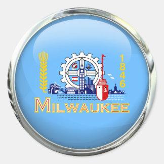 ミルウォーキーの旗のガラス玉 ラウンドシール