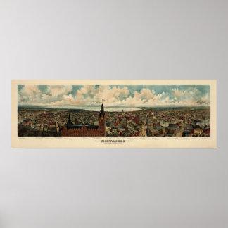 ミルウォーキーの(1898年の)重版のBirdseyeのパノラマ ポスター