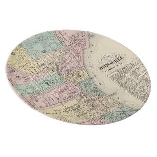 ミルウォーキーウィスコンシン(1878年)のヴィンテージの地図 プレート