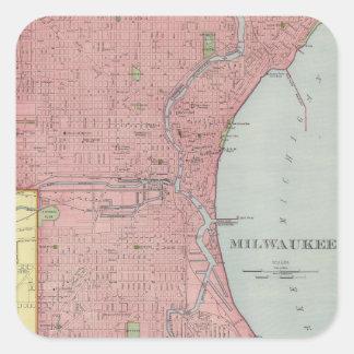 ミルウォーキーウィスコンシン(1903年)のヴィンテージの地図 スクエアシール