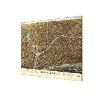 ミルウォーキー(1872年)のヴィンテージの絵解き地図 キャンバスプリント