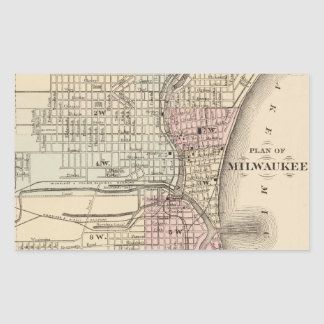 ミルウォーキー(1880年)のヴィンテージの地図 長方形シール