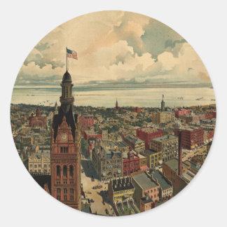 ミルウォーキーWI (1898年)のヴィンテージの絵解き地図 ラウンドシール