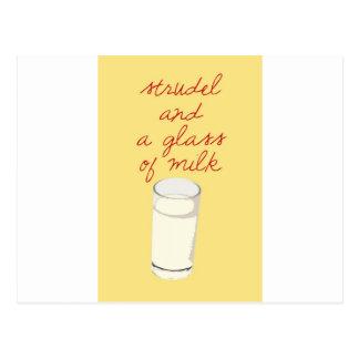 ミルクのシュトルーデルそしてガラス ポストカード