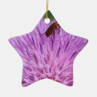 ミルクのThisleの紫色の写真のカブトムシ セラミックオーナメント