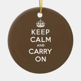 ミルクチョコレートKeep Calm and Carry On セラミックオーナメント