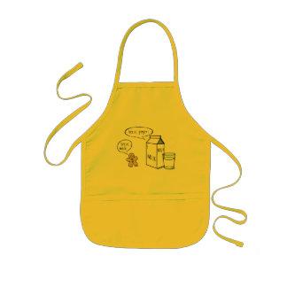 ミルク及びショウガの予測できない子供の黄色いエプロン 子供用エプロン