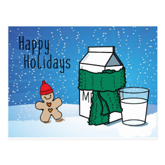 """""""ミルク及びショウガ""""のおもしろいで幸せな休日の雪の郵便はがき ポストカード"""
