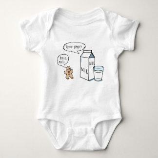 ミルク及びショウガ-白いベビーのボディスーツ ベビーボディスーツ