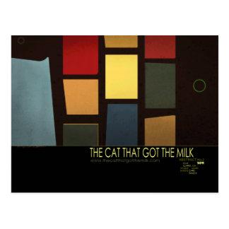 ミルク-変形2 --を得た猫 ポストカード