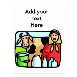 ミル日の1月11日の牛およびミルクの女中 ポストカード