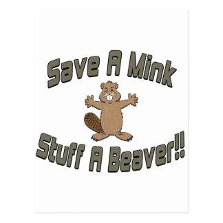ミンクの物をビーバー救って下さい ポストカード