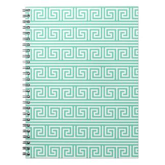 ミントおよび白いギリシャの主パターン ノートブック