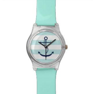 ミントおよび白い航海のの青いいかりは縞で飾ります 腕時計