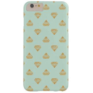 ミントおよび金ゴールドのグリッターのダイヤモンドのiPhoneの場合 Barely There iPhone 6 Plus ケース