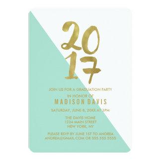 ミントおよび金ゴールド色のブロック|の卒業パーティー 12.7 X 17.8 インビテーションカード
