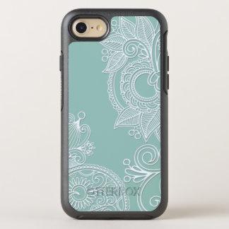 ミントのエンボスのスタイルの白いペイズリー オッターボックスシンメトリーiPhone 8/7 ケース
