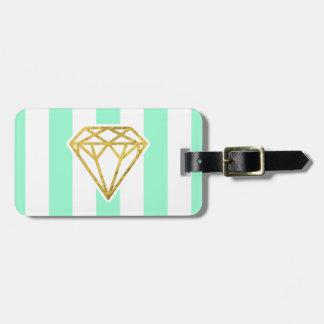 ミントは金ゴールドホイルのダイヤモンドの荷物のラベルと縞で飾ります ラゲッジタグ