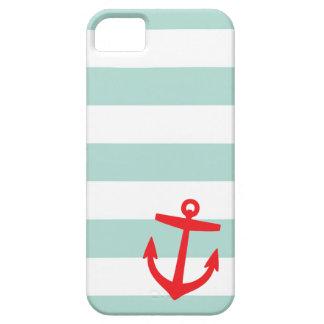 ミント及び赤く航海のなストライプおよびかわいいいかり iPhone SE/5/5s ケース